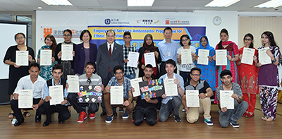 The Ambassadors shared their learning experience during the graduation ceremony of the pre-employment training. The former Secretary for Labour and Welfare, Mr Matthew Cheung Kin-Chung, attended the ceremony and gave encouragement to the Ambassadors.